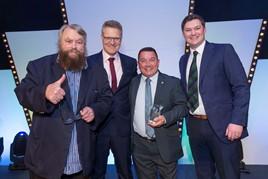 Vertu Motors awards (left to right): Actor Brian Blessed, Vertu chief executive Robert Forrester, Ali Aitken, Brett Martin of SWR Newstar