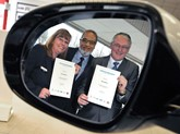 Loyal: June Appleyard with Jennings Motor Group managing director, Nas Khan, and Brian Johnston