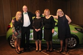 Winners: Vicki Brown, Vertu Motors; John Joyce, Samaritans of Tyneside and auction winner; Libby Hibbert, branch director at Samaritans of Tyneside; Patricia Bolland, branch chair of Samaritans of Tyneside; and Lynn Joyce, auction winner.