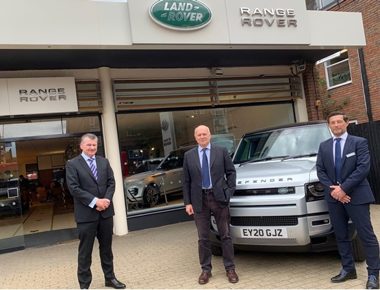 Cambria Automobiles CEO Mark Lavery with Sir Iain Duncan Smith, the MP for Chingford and Woodford Green and Grange Woodford head of business Paul Greenberg