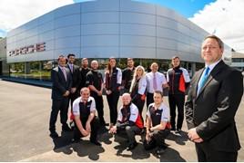 Centre principal, Scott Stevenson (far right), with his team at Porsche Centre Newcastle