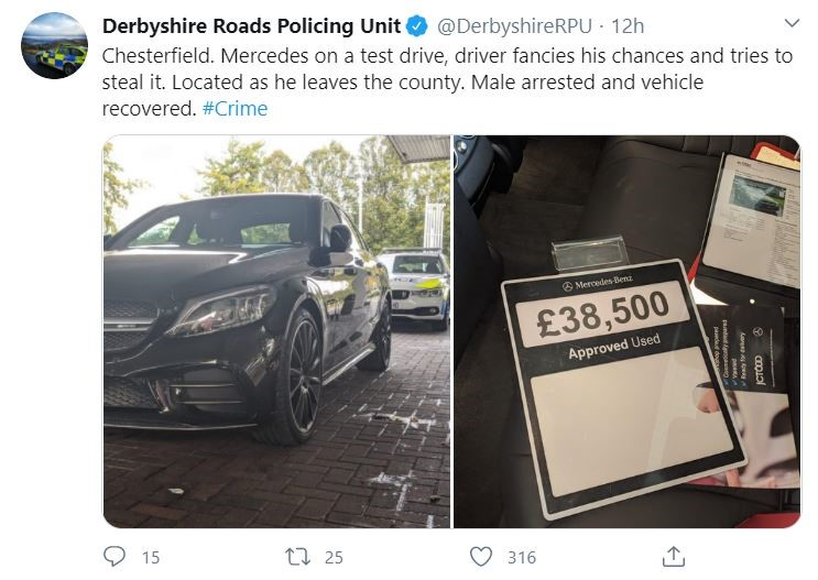 Derbyshire Constabulary's tweet about the alleged attempt to steal a Mercedes-Benz C63 AMG from JCT600's Chesterfield dealership