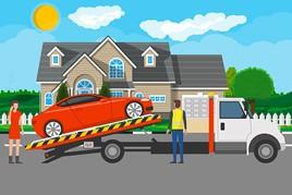 car being delivered
