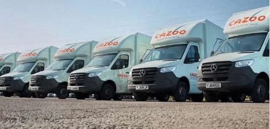 Cazoo's fleet of car sales delivery vans