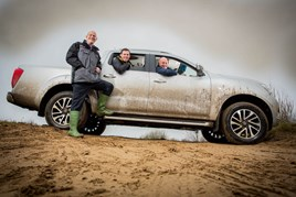 Off-road (left to right): Chorley Group sales manager Alex Cullen shows off the new Navara to Mark Lockley and his son Matthew