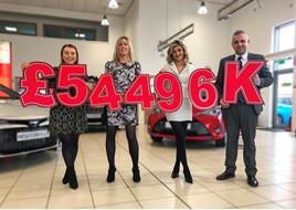 Pictured announcing the fundraising total for Charles Hurst Toyota (L-R) Lauren Hyndman (brand marketing manager at Charles Hurst Toyota), Lucy McCusker (Action Cancer), Zara Dunlop (sales executive at Charles Hurst Toyota) and Ross Graham (franchise sales manager at Charles Hurst Toyota)