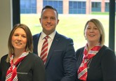 Rachel Sharples and Joanne Mount, from Chorley Group's digital response team, with  sales director Adam Turner