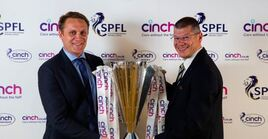 Cinch CEO Robert Bridge and SPFL CEO Neil Doncaster after agreement on sponsorship deal