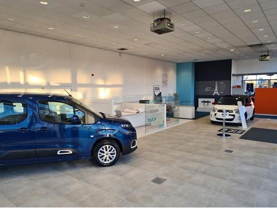Inside the showroom at Vertu Motors' new Bristol Street Motors Citroen Macclesfield dealership