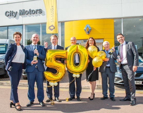 The leadership team at City Motors Bristol collect their Groupe Renault UK loyalty award