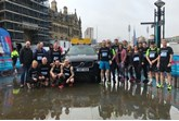Runners from Clive Brook Volvo with the XC90 T8 support vehicle