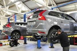 Workshop ramps at Clive Brook Volvo