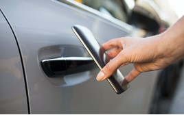 a smartphone vehicle key in action