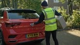 A Hermes parcel delivery being carried out using Volkswagen's 'We Deliver' app