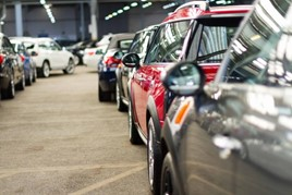 Cars lined up ready for sale at auction