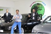 Harvey Cooper Cars managing director Andrew North (centre) with general manager Craig Durham (left) and group operations director Irfan Khalid (right)