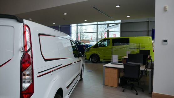 The commercial vehicle (CV) showroom at Hartwell Ford, Reading
