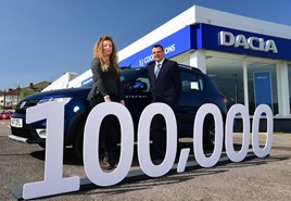 Heather Reiss receives her new Dacia Sandero from James Hardiman, sales manager at SJ Cook and Sons