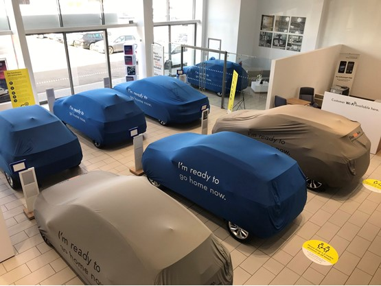 Head of business Daniel Cooper took this image of 70-plate vehicles lined up for sale at Robinsons VW, Peterborough