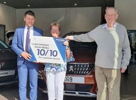 Simon Bailes Peugeot celebrates customer Elizabeth Hutchinson as Peugeot UK's most dedicated car owner