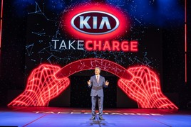 Kia Motors UK managing director, Paul Philpott, hosts the brand's 2020 dealer conference