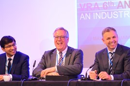 Woburn Consulting Group's financial services consultant Peter de Rousset-Hall flanked by Richard Hill, head of automotive at RBS (right) and Deloitte senior analyst and economist Debrapratim De
