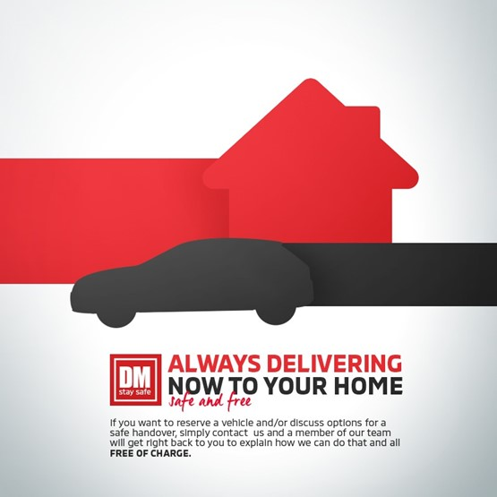 Devonshire Motors' COVID-19 DM Stay Safe initiative online marketing also highlights the provision of home delivery
