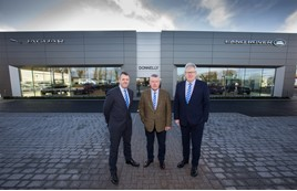 Donnelly Group's new JLR showroom at Dungannon (from left): Donnelly Group managing director, Dave Sheeran; Terence Donnelly, executive chairman at Donnelly Group; and Raymond Donnelly, director at Donnelly Group