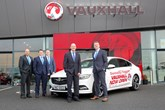 Stuart Callaghan, Donnelly Group Dungannon sales manager, Brent Crawford, Donnelly and Taggart Eglinton Vauxhall sales manager, Stuart Pedlow, Donnelly Dungannon retail operator, Chris Kearney, Vauxhall Network Development manager and Dave Sheeran, Donnelly group managing director celebrate the new acquisition and third Donnelly Vauxhall site in Northern Ireland