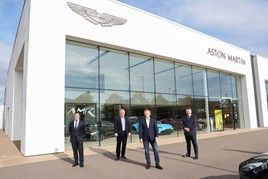 Left to right;: Cambria finance director James Mullins, Northern Ireland Secretary, Brandon Lewis CBE; Transport Secretary Grant Shapps and Cambria CEO Mark Lavery.