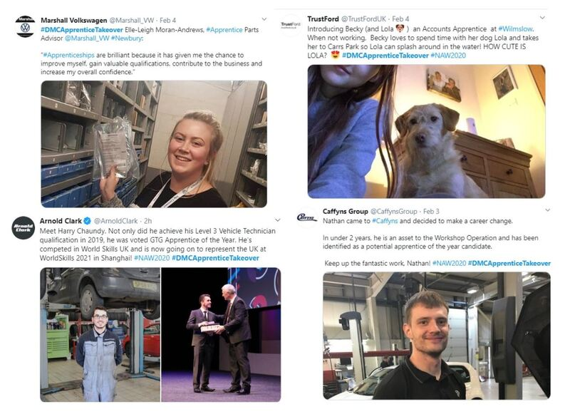 A collection of Tweets featured in the NFDA's Drive My Career Apprenticeship Takeover