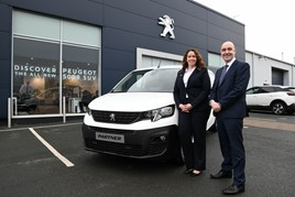 Emma Griffiths with John Sedgwick, Managing Director of Simon Bailes Peugeot