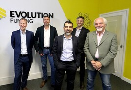 Kevin Kaye, Evolution Funding Finance Director; Lee Streets, Evolution Funding CEO; Paul Saggar, Evolution Funding CIO; Ollie Moxham, Click Dealer CEO; Gerry Moxham, Click Founder and Chief Visionary Officer