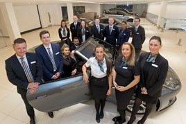 The new recruits at Farnell Jaguar Land Rover Bolton, with James Boyd, head of business (far left)