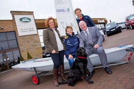 (left to right) Antony and Becky Rowland with son William Rowland and Stephen Thomas, head of business at Farnell Land Rover Bury