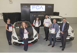 Successful delegates (left to right): Emilie Stevens, Nikki Evans, Carly Bridger, Jason Harris, Rick Mandair, with Alex Hughes, managing director, FCA Automotive Services