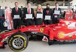 Ferrari's latest batch of apprentice graduates celebrate their success at Silverstone