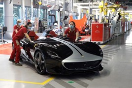 Vehicle production re-starts after COVID-19 lockdown at Ferrari's Maranello plant