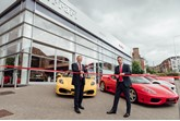 The Mayor of Sevenoaks, Cllr Nicholas Busvine, opens the new Jardine Ferrari business alongside dealer principal Simon Beecher