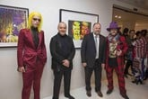 Artists Roger Spy, Lincoln Townley, Finn Stone with Rob Calver, managing director, Motor Village UK (3rd left)