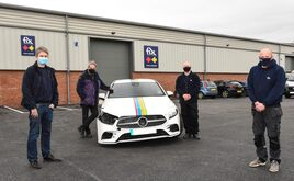 Fix Auto Leeds North developed by Sam (left) and Stephen Smith (second left), pictured alongside bodyshop manager Stephen Woodward and assistant manager Richard Jones (right)