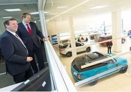 Robert Bonser, head of business at Gordon Lamb Land Rover with Toby Perkins MP