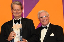 Gareth Williams, managing director, Hatfields, collects the award from John Boseley,   managing director of Jewelultra,  manufacturers of Diamondbrite, right
