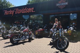 Sohail Khan, director of Jennings Motor Group, with Charlotte Yanni of Fickle Lilly, at the first anniversary of Jennings Harley-Davidson in Gateshead