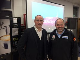 Customer service keynote speaker Geoff Ramm and Luscombe Motors managing director Robin Luscombe