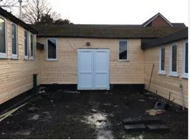 The partially renovated Bushey Heath scout headquarters