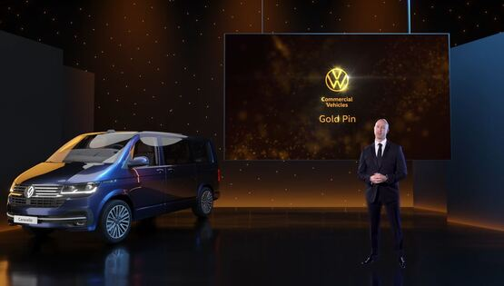 Director of Volkswagen Commercial Vehicles, Cian O'Brien, presents the franchise's virtual awards event