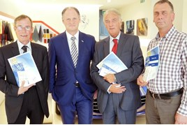 Long standing: Andy Bruce Lookers CEO (second left) with stalwarts Gordon Shaw, Billy Lee and Bill Hawkins