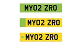 The Department for Transport's (DfT) three proposed zero emission vehicle green number plate designs