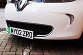 The Department for Transport's (DfT) 'green flash' EV number plate design